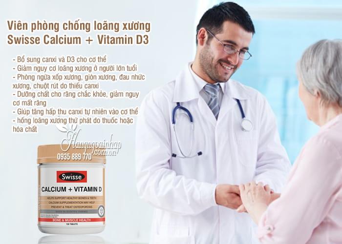Viên phòng chống loãng xương Swisse Calcium + Vitamin D3 Úc 2