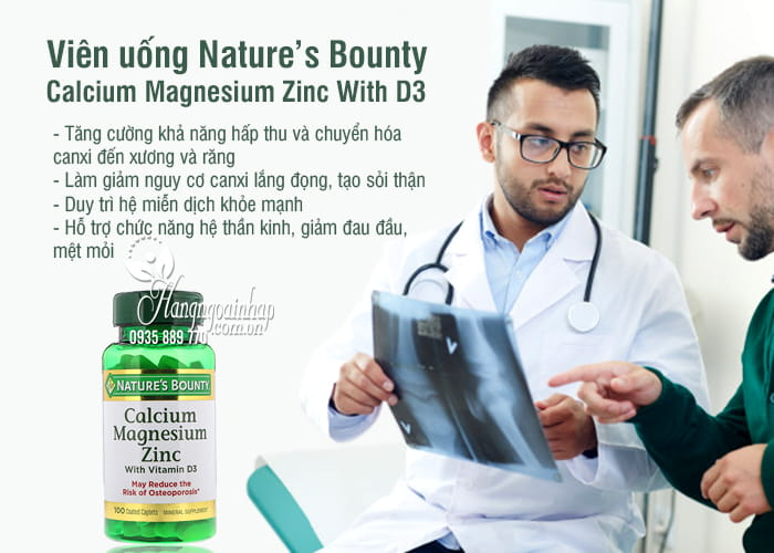 Viên uống Nature's Bounty Calcium Magnesium Zinc With D3 3