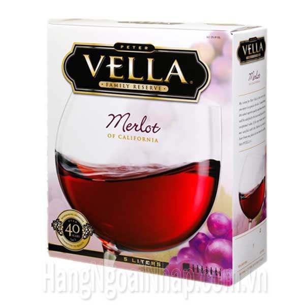 Hộp Rượu Vang Vella Merlot Of California 5 Lít Của Mỹ
