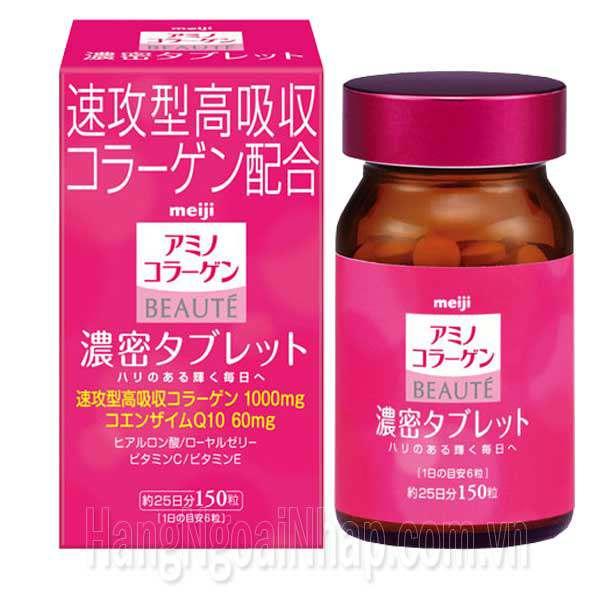 Viên Uống Đẹp Da Meiji Amino Collagen Beaute Hộp 150 Viên