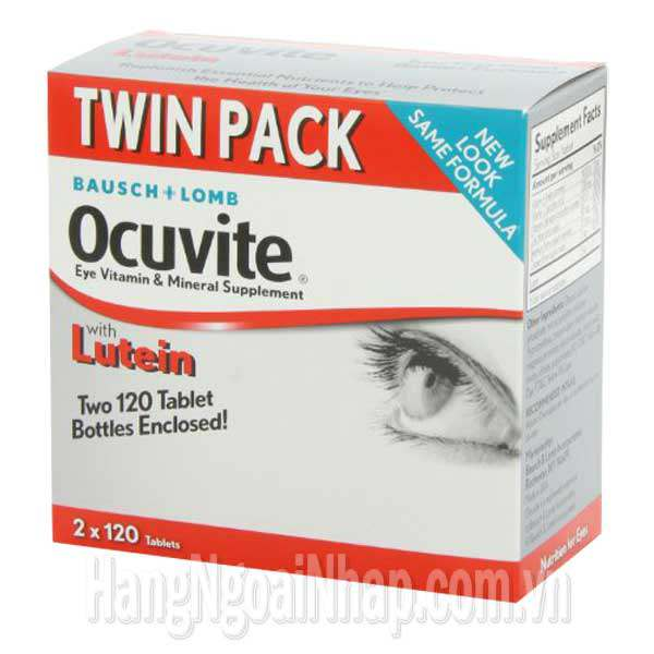 Thuốc Bổ Mắt Bausch Lomb Ocuvite Twin Pack Với Lutein, Vitamin