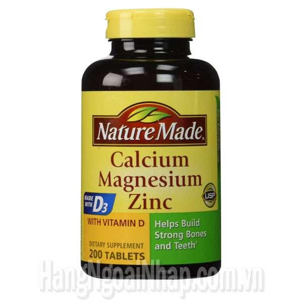 Thuốc Bổ Nature Made Calcium Magnesium Zinc With Vitamin D 200 Viên