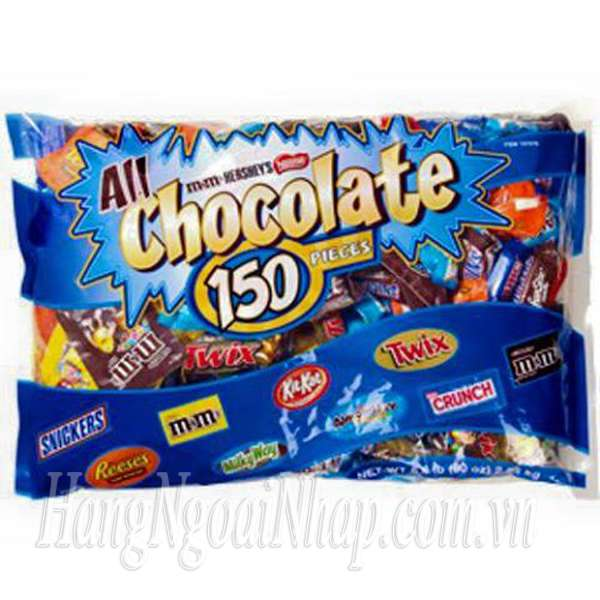 Kẹo Socola tổng hợp All Chocolate 150 Pieces 2.55kg của Mỹ