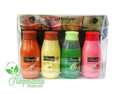 Set 4 chai sữa tắm mini Cottage France 50ml của Pháp