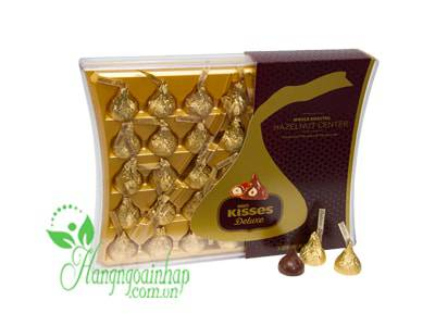 Socola sữa bọc hạt phỉ Chocolate Hershey's Kisses Deluxe hộp 50 viên 410g