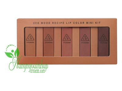 Set son mini 3CE Mood Recipe Matte Lip Color 5 màu của Hàn Quốc