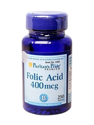 Viên uống hỗ trợ thiếu máu Folic Acid 400 mcg Puritan's Pride 250 viên