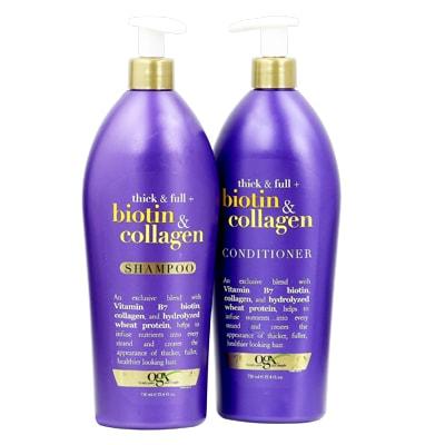 Bộ dầu gội xả OGX Biotin & Collagen có vòi 750ml của Mỹ