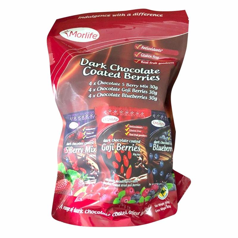 Socola đen bọc trái cây Morlife Dark Chocolate Coated Berries 360g