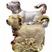Rượu phong thủy con chó vàng, chó bạc Bourbon Whisky 15 năm Pháp