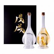 Set 2 chai rượu hình chó vàng, chó bạc Sake Yatsushika 500ml
