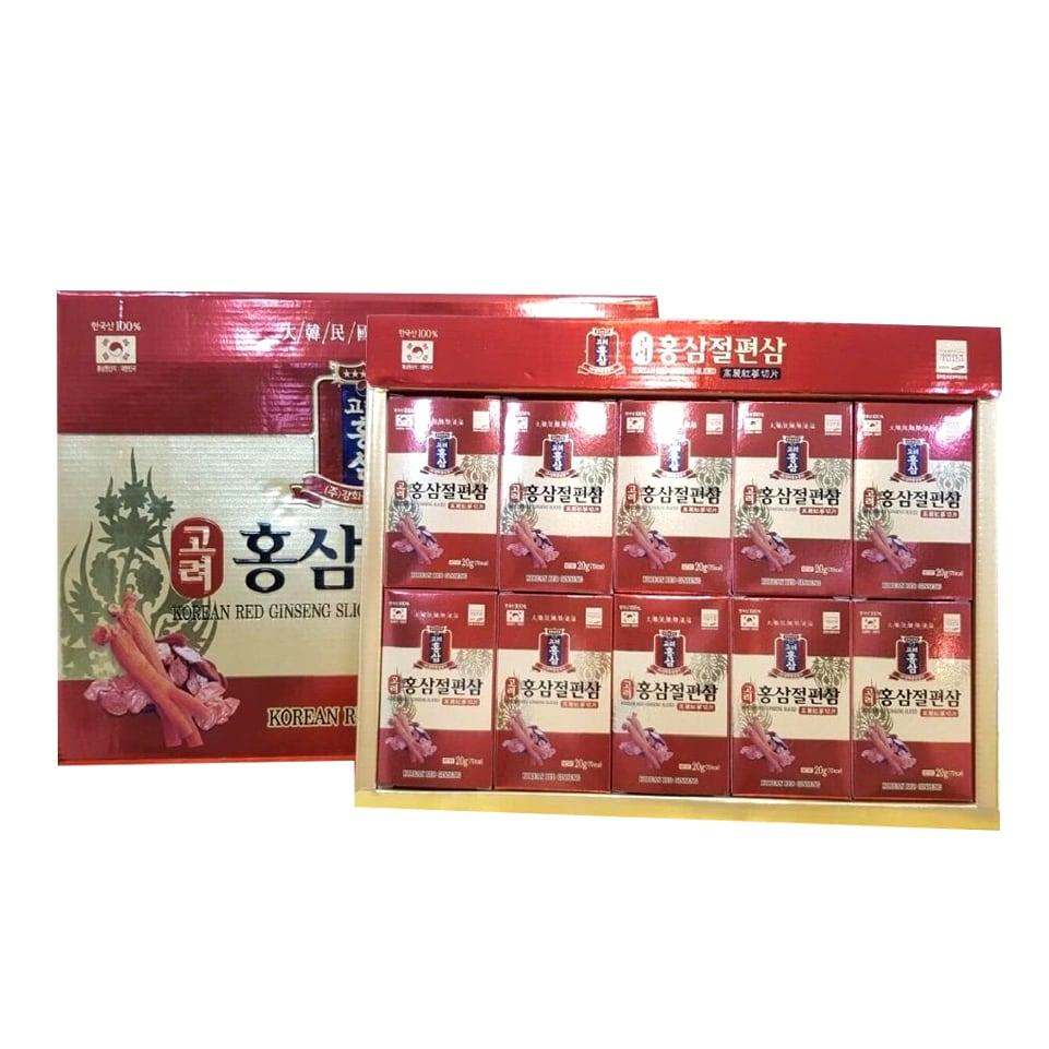 Hồng sâm lát tẩm mật ong Korean Red Ginseng Sliced 20g x 10 hộp