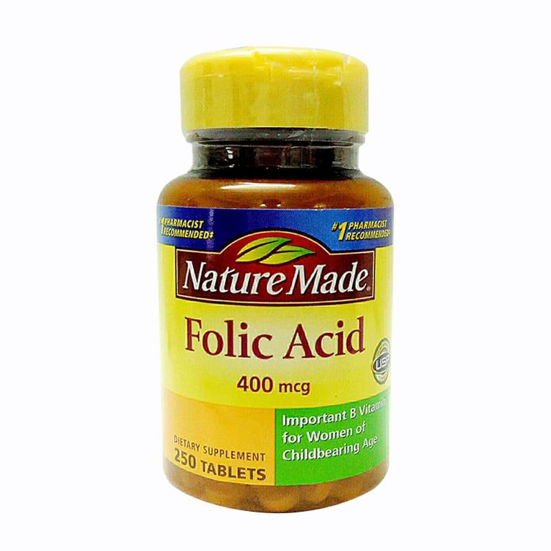 Viên uống bổ sung Folic Acid 400mcg Nature Made 250 viên USA