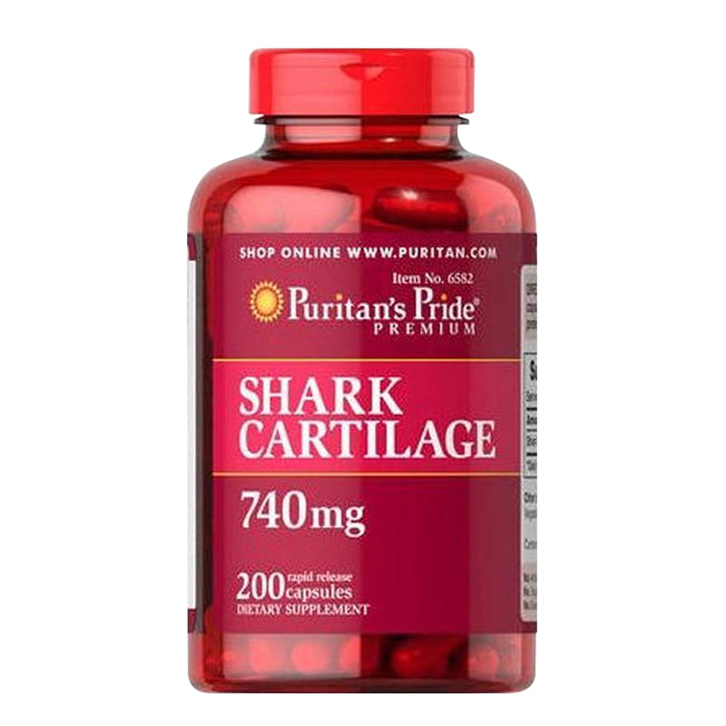 Sụn Vi Cá Shark Cartilage Puritans Pride 740mg 200 Viên