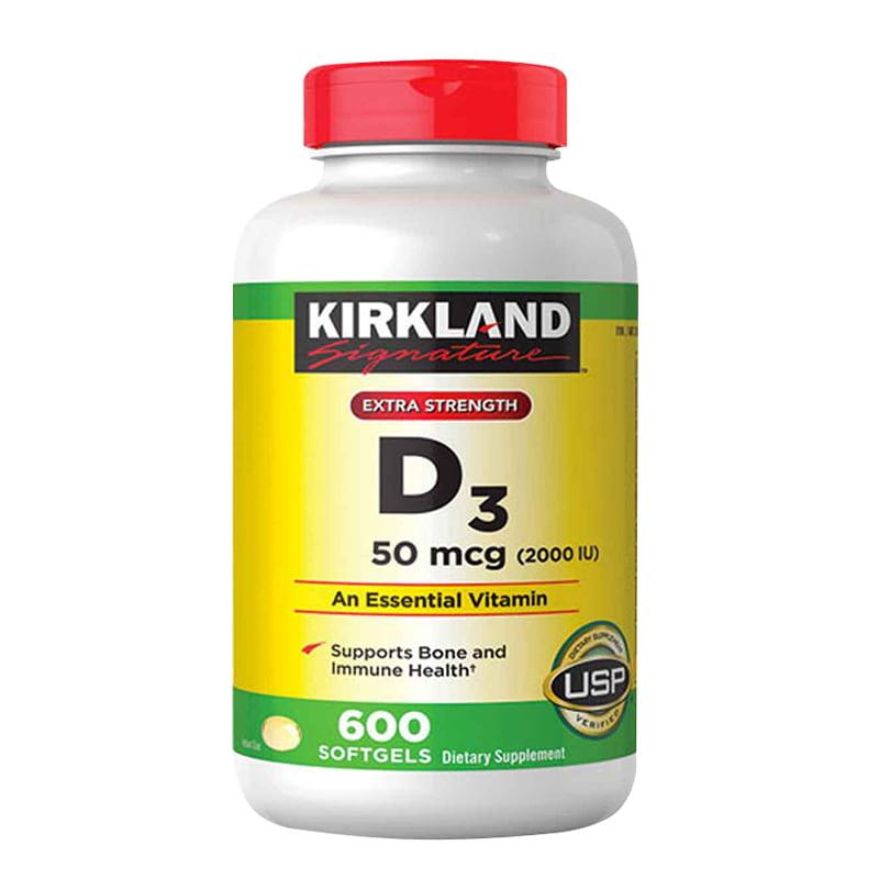 Viên uống Vitamin D3 Kirkland Extra Strength D3 50mcg của Mỹ