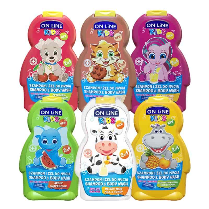 Sữa tắm gội cho bé 2 in 1 On Line Kids không gây cay mắt