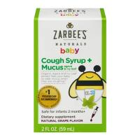 Siro ho cho trẻ sơ sinh Zarbee's Baby Cough Syrup Mucus 59ml