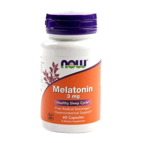 Viên uống hỗ trợ giấc ngủ Melatonin 3mg Now 60 viên của Mỹ
