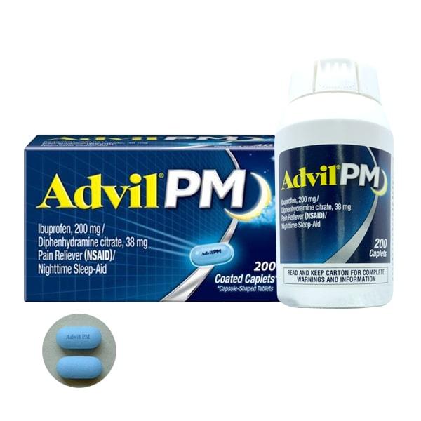Viên giảm đau Advil PM 200mg 200 viên của Mỹ dùng ban đêm