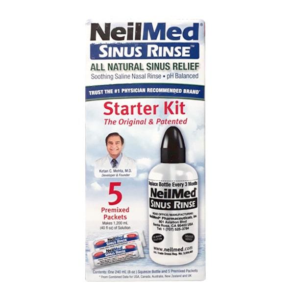 Bộ rửa mũi NeilMed 240ml cùng 5 gói muối cho người lớn