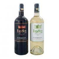 Set 2 chai rượu vang đỏ, trắng 1982 Bordeaux 2018 hộp gỗ