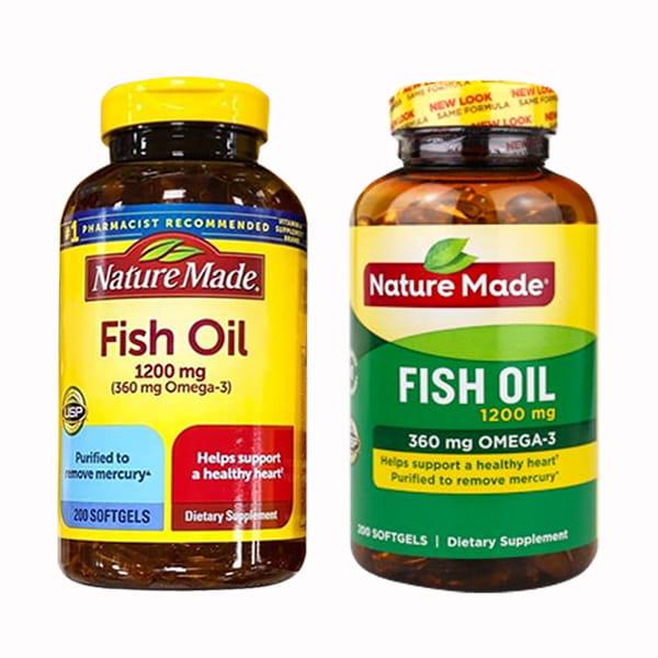 Nature Made Fish Oil 1200mg 360mg Omega 3 200 Viên của Mỹ chính hãng mẫu mới