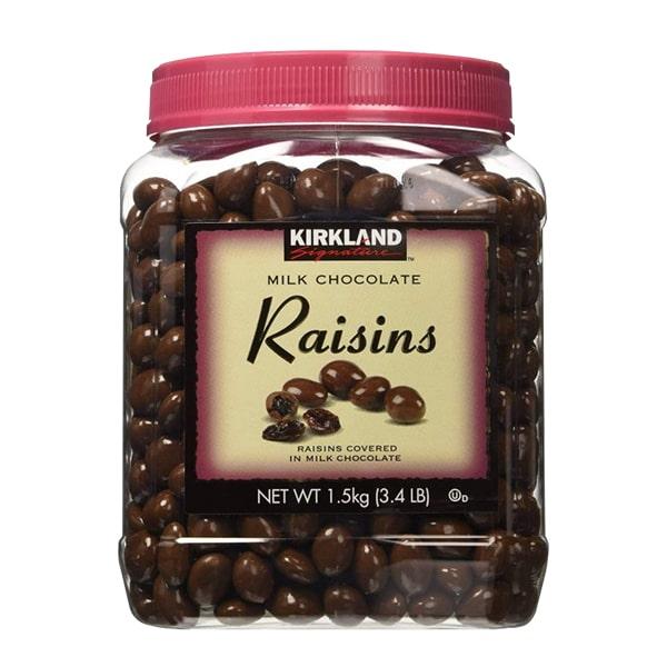 Chocolate sữa bọc nho khô Kirkland 1,53kg của Mỹ