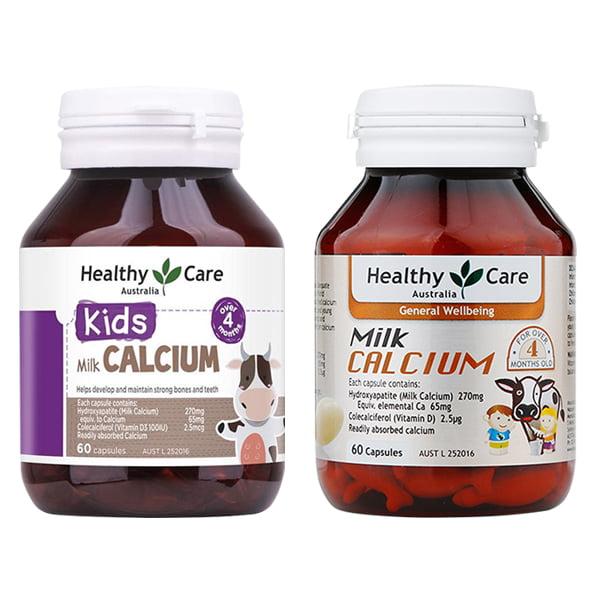 Milk Calcium Healthy Care 60 viên Úc, viên sữa canxi cho bé