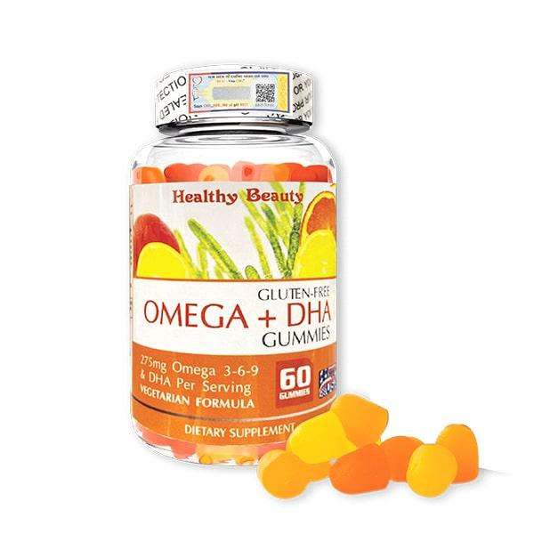 Viên nhai Omega + DHA Gummies Healthy Beauty 60 viên Mỹ