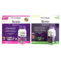 Viên ngậm hương dâu Natrol Biotin Beauty 5000mcg Extra Strength