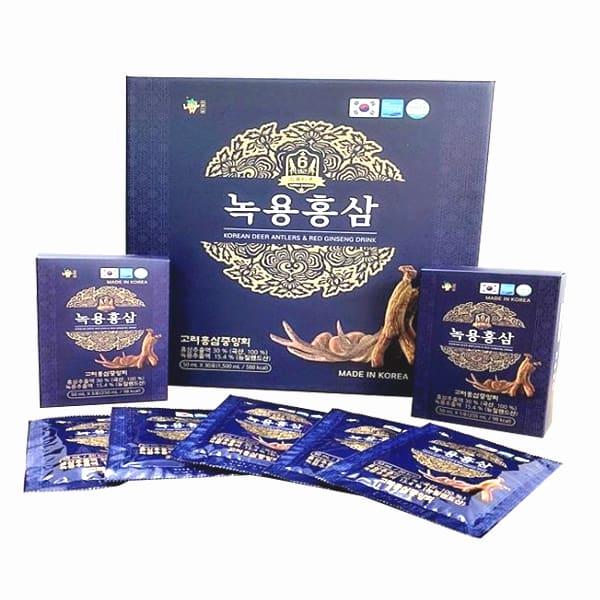 Nước hồng sâm nhung hươu hộp xanh Gaesung 30 gói x 50ml Hàn