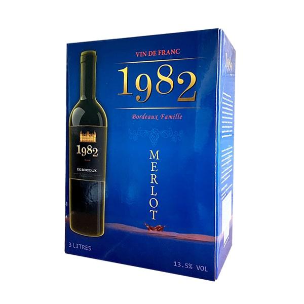 Rượu vang Pháp 1982 Merlot Hộp 3 lít xách tay Pháp chính hãng