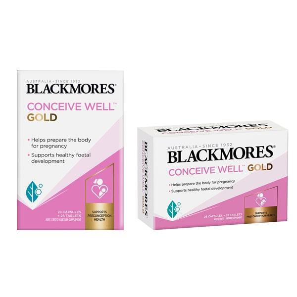 Viên uống Blackmores Conceive Well Gold 56 viên của Úc mẫu mới