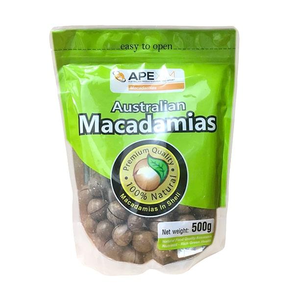 Hạt Maccadamias Ape Xim in shell Australian gói 500g - Úc