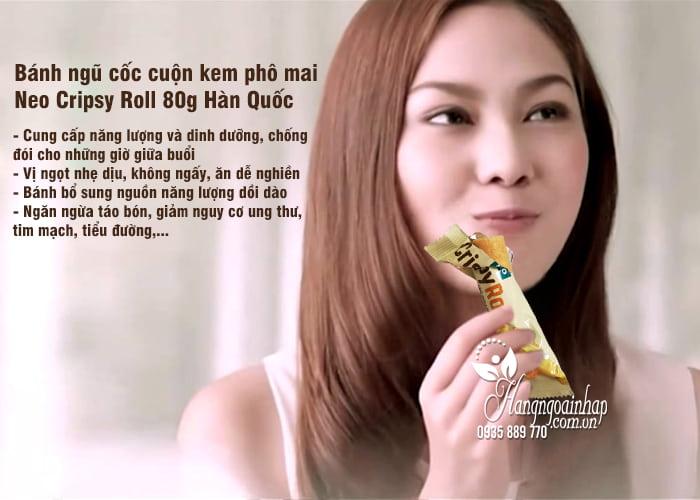 Bánh ngũ cốc cuộn kem phô mai Neo Cripsy Roll 80g Hàn Quốc 2