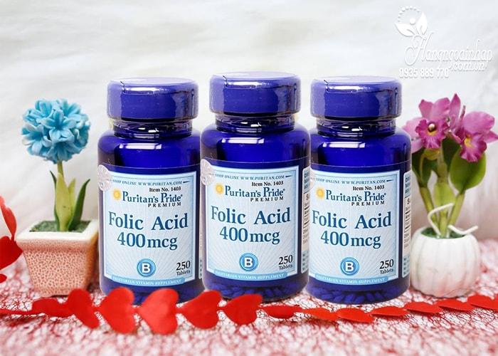 Viên uống hỗ trợ thiếu máu Folic Acid 400 mcg Puritan's Pride của Mỹ