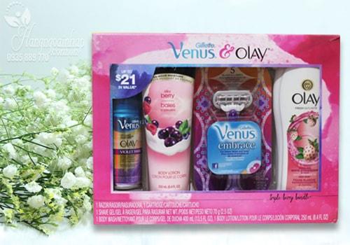 Bộ sản phẩm dưỡng thể, sữa tắm, gel cạo râu Gillette Venus & Olay