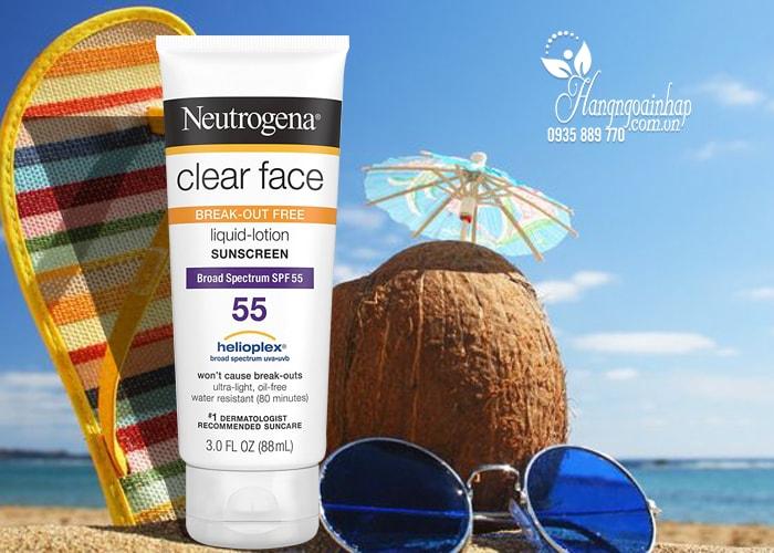 Kem chống nắng Neutrogena Clear Face Sunscreen SPF 55 của Mỹ