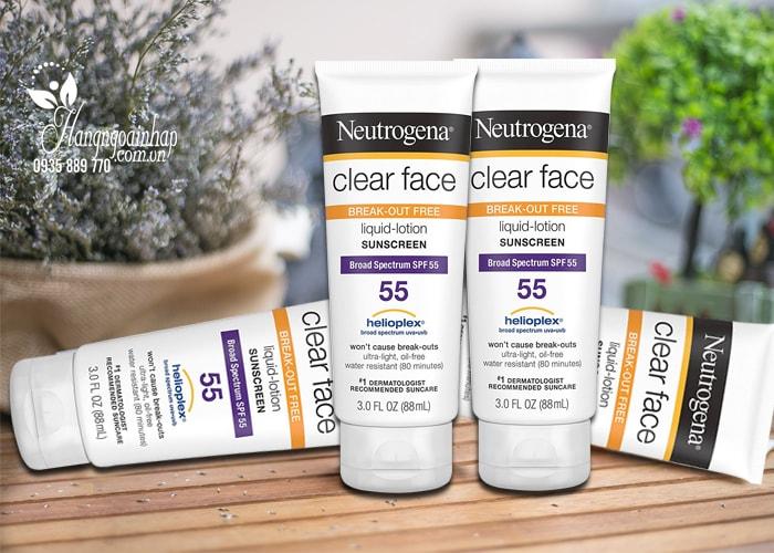 Kem chống nắng Neutrogena Clear Face Sunscreen SPF 55 của Mỹ 88ml