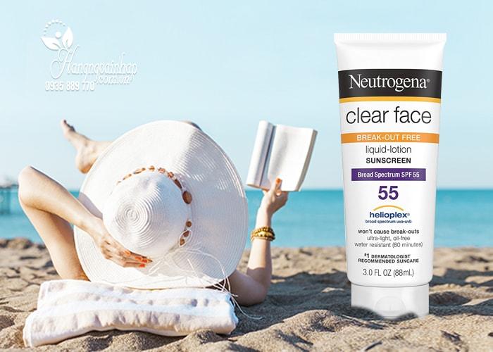 Kem chống nắng Neutrogena Clear Face Sunscreen SPF 55 88ml của Mỹ
