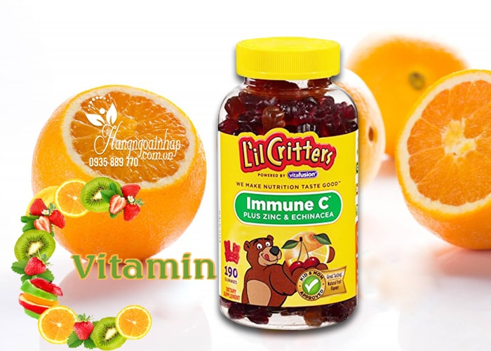 Kẹo dẻo bổ sung vitamin C L'IL Critters immune 190 viên của Mỹ