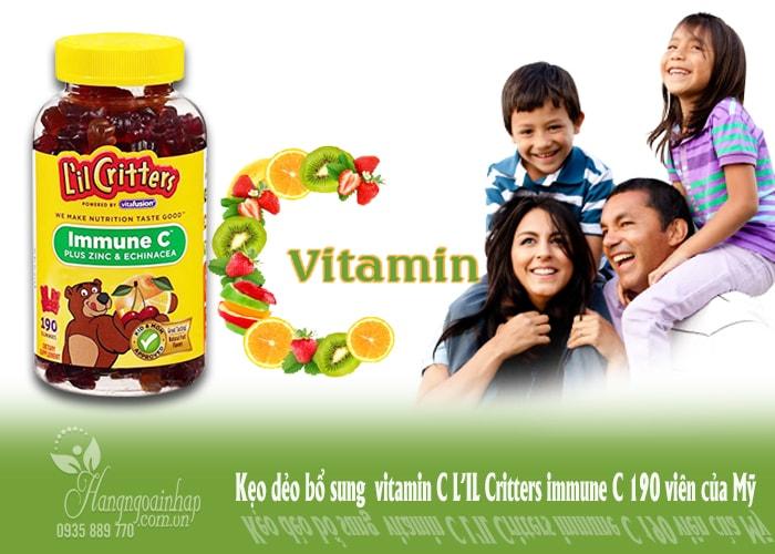 Kẹo dẻo bổ sung vitamin C L'IL Critters immune của Mỹ