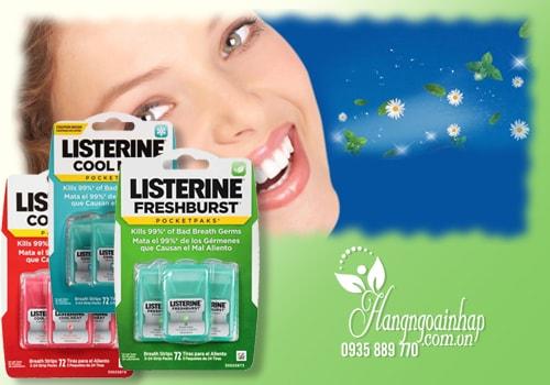 Miếng ngậm thơm miệng, diệt khuẩn Listerine vị bạc hà của Mỹ