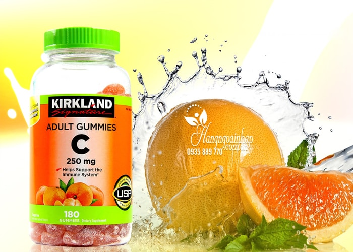 Kẹo dẻo bổ sung Vitamin C Kirkland Adult Gummies C 250mg của Mỹ