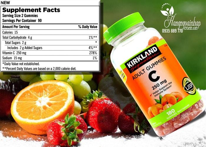 Kẹo dẻo bổ sung Vitamin C Kirkland Adult Gummies C 250mg của Mỹ 180 viên