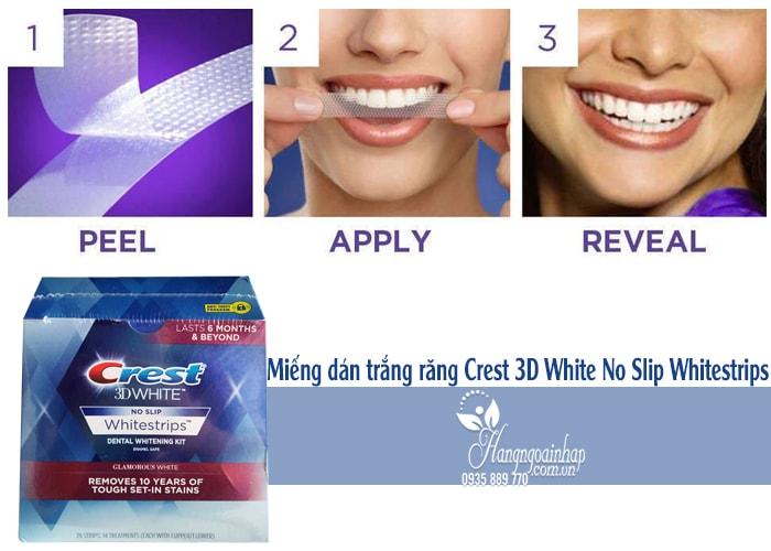 Miếng dán trắng răng Crest 3D White No Slip Whitestrips hộp 28 miếng của Mỹ