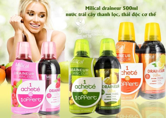 Nước trái cây thanh lọc, thải độc Milical draineur 500ml của Pháp