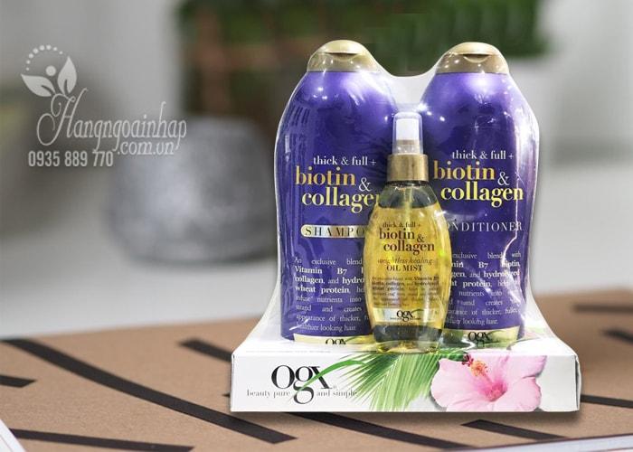 Set dầu gội xả OGX Biotin & Collagen tặng kèm xịt dưỡng tóc của Mỹ