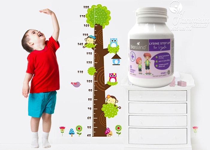 Viên uống tăng chiều cao cho bé Bio Island Lysine Step Up For Youth cho trẻ trên 6 tuổi