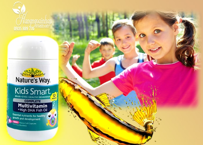 Vitamin tổng hợp và dầu cá cho bé Nature's Way Kids Smart 50 viên của Úc